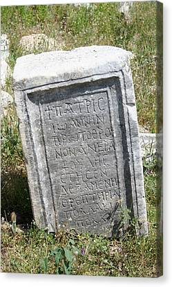 Aphrodisias Canvas Print - Headstone In The Basilica Church Aphrodisias by Tracey Harrington-Simpson