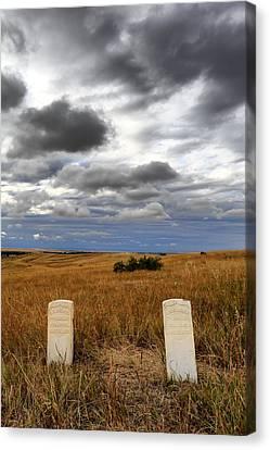 Headstones Little Bighorn Battlefield Mt Canvas Print