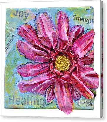 Healing Pink Zinnia Canvas Print by Lisa Fiedler Jaworski