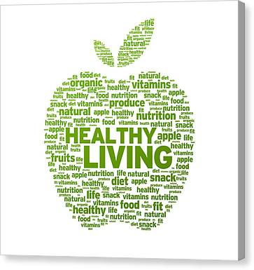 Healthy Living Apple Illustration Canvas Print by Aged Pixel
