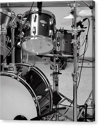 Hear The Music - A Drum Set Up For Recording Canvas Print