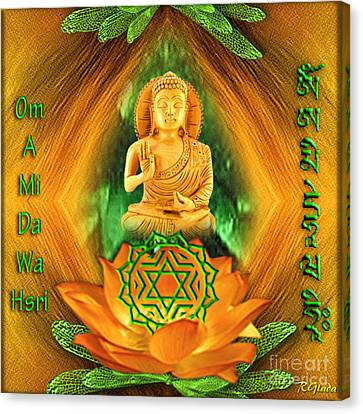 Canvas Print featuring the digital art Heart Chakra And Mantra - Spirituality Art By Giada Rossi by Giada Rossi