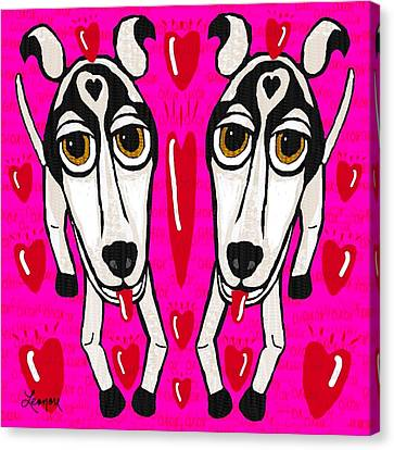 Heart Dogs Canvas Print by Leonore Shield