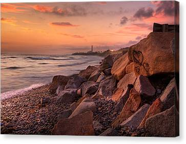 Heart Face Rock Canvas Print by Peter Tellone
