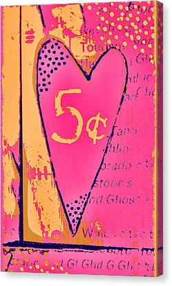 Heart Five Cents Canvas Print by Carol Leigh