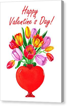Be My Valentine Canvas Print - Heart Full Of Tulips Valentine Bouquet  by Irina Sztukowski