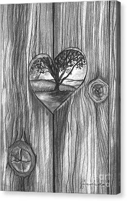 Canvas Print featuring the drawing Heart In The Fence by J Ferwerda