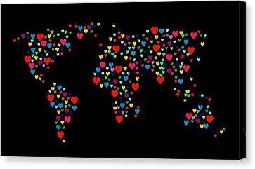 Abstract Map Canvas Print - Heart Map  by Mark Ashkenazi
