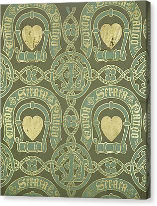 Heart Motif Ecclesiastical Wallpaper Canvas Print by Augustus Welby Pugin