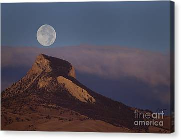 Heart Mountain And Full Moon-signed-#0325 Canvas Print