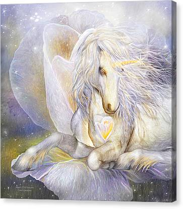 Extinct And Mythical Canvas Print - Heart Of A Unicorn by Carol Cavalaris