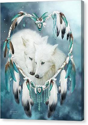 Canvas Print featuring the mixed media Heart Of A Wolf by Carol Cavalaris