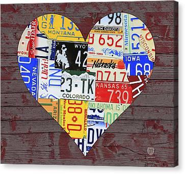 Heart Of America Usa Heartland Map License Plate Art On Red Barn Wood Canvas Print