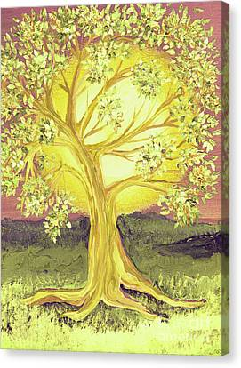 Heart Of Gold Tree By Jrr Canvas Print by First Star Art