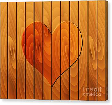 Heart On Wooden Texture Canvas Print by Michal Boubin