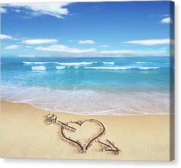 Sandy Beach Canvas Print - Heart Shape On Sandy Beach by Leonello Calvetti
