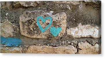 Heart Shape Painted On A Wall, Safed Canvas Print
