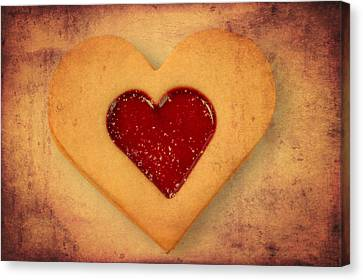 Heart Shaped Cookie With Texture Canvas Print by Matthias Hauser