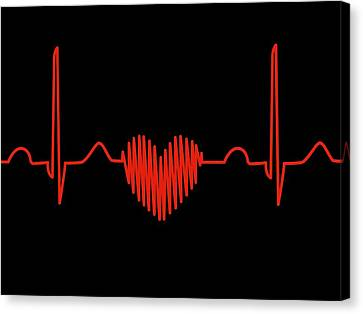 Heartbeat Canvas Print - Heart-shaped Ecg Trace by Alfred Pasieka