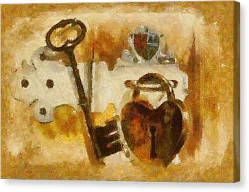 Heart Shaped Lock With Key Canvas Print by Tracey Harrington-Simpson