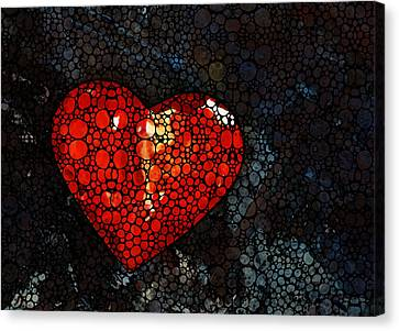 Heart - Stone Rock'd Art By Sharon Cummings Canvas Print by Sharon Cummings