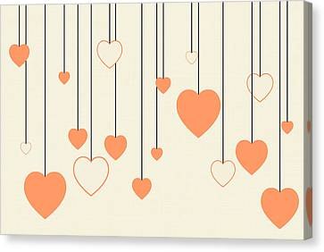 Heart Strings In Peach Canvas Print by Chastity Hoff