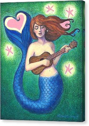 Canvas Print featuring the painting Heart Tail Mermaid by Sue Halstenberg