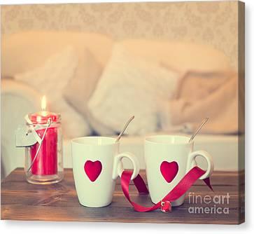 Heart Teacups Canvas Print by Amanda Elwell