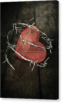 Pointy Canvas Print - Heart With Barbed Wire by Joana Kruse
