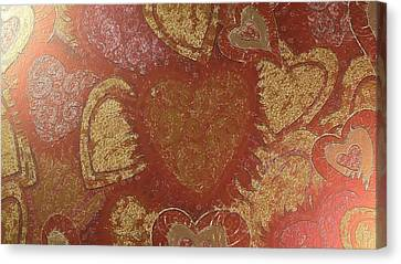 Canvas Print featuring the digital art Hearted In Gold Silk by Catherine Lott
