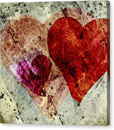 Hearts 10 Square Canvas Print by Edward Fielding
