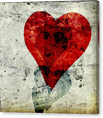 Hearts 3 Square Canvas Print by Edward Fielding