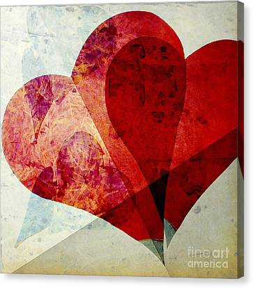 Hearts 5 Square Canvas Print by Edward Fielding
