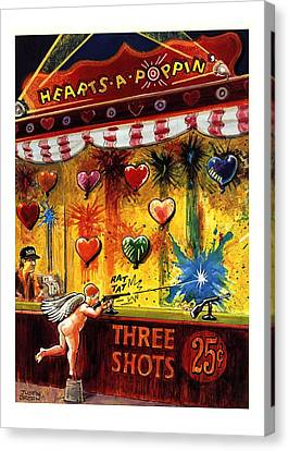 Hearts-a-poppin' Canvas Print by Justin Gree