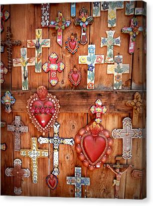 Crucifix Art Canvas Print - Hearts And Crosses by Karyn Robinson