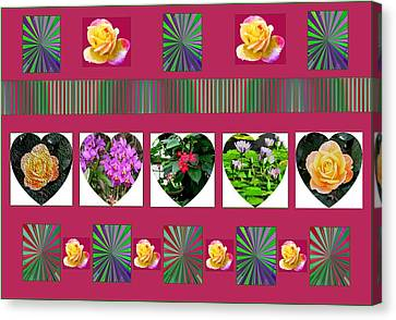 Hearts And Flowers 2 Canvas Print by Marian Bell