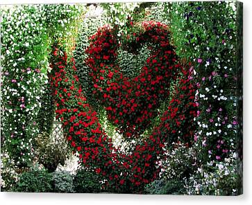 Canvas Print featuring the photograph Hearts And Flowers by Jennifer Wheatley Wolf