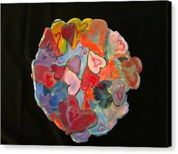 Hearts Hand Built Canvas Print by Martha Nelson