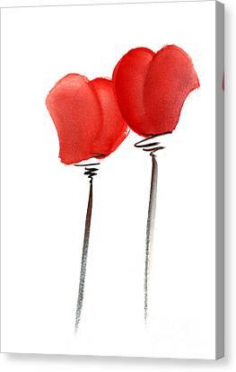 Hearts Heart Vine Glasses Vedding Valentine Day Invitation Flowers Pink Orange Red Heart Flower Gicl Canvas Print