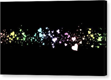 Hearts In Space Canvas Print by Kurt Van Wagner