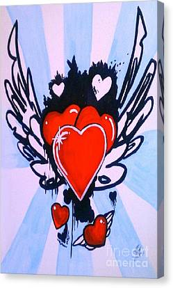 Canvas Print featuring the painting Hearts by Marisela Mungia