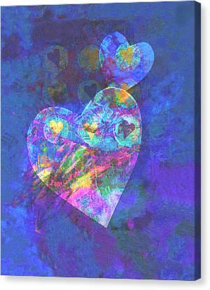 Hearts On Blue Canvas Print by Ann Powell