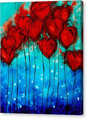 Canvas Print featuring the painting Hearts On Fire - Romantic Art By Sharon Cummings by Sharon Cummings