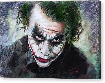 Heath Ledger The Dark Knight Canvas Print by Viola El