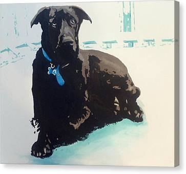 Canvas Print featuring the painting Heathers Dog by Cherise Foster