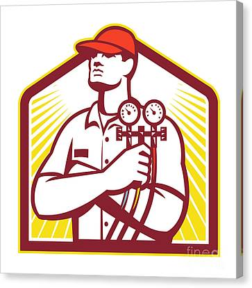 Worker Canvas Print - Heating And Cooling Refrigeration Technician Retro by Aloysius Patrimonio