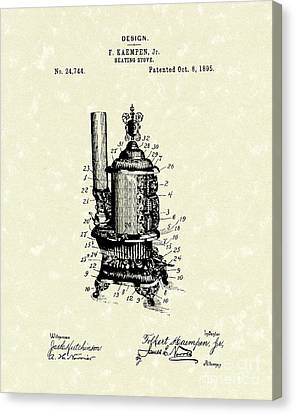 Wood Burning Canvas Print - Heating Stove 1895 Patent Art by Prior Art Design