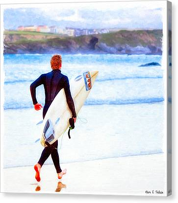 Heaven Is On A Wave - Surfer At Newquay Canvas Print by Mark E Tisdale