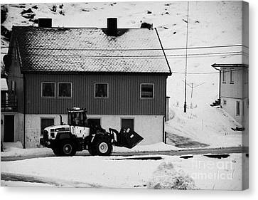 Heavy Duty Loader Carrying Grit And Stones For Winter Road Preparation Havoysund Finnmark Norway  Canvas Print by Joe Fox