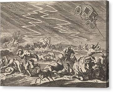 Heavy Storm At Donsenhausen In Thuringen Canvas Print by Jan Luyken And Pieter Van Der Aa (i)